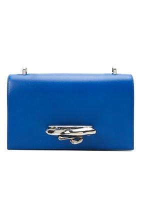 Женская сумка ALEXANDER MCQUEEN синего цвета, арт. 657176/CM00Y | Фото 1 (Ремень/цепочка: На ремешке; Материал: Натуральная кожа; Размер: small; Сумки-технические: Сумки через плечо)