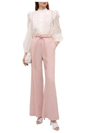 Женские брюки из льна и вискозы ZIMMERMANN светло-розового цвета, арт. 1188PLMI   Фото 2