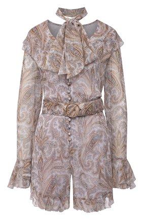 Женский шелковый комбинезон ZIMMERMANN бежевого цвета, арт. 1346YLMI   Фото 1