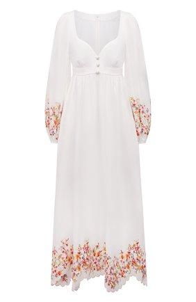Женское льняное платье ZIMMERMANN белого цвета, арт. 1488DMAE   Фото 1