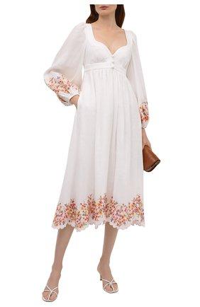 Женское льняное платье ZIMMERMANN белого цвета, арт. 1488DMAE   Фото 2