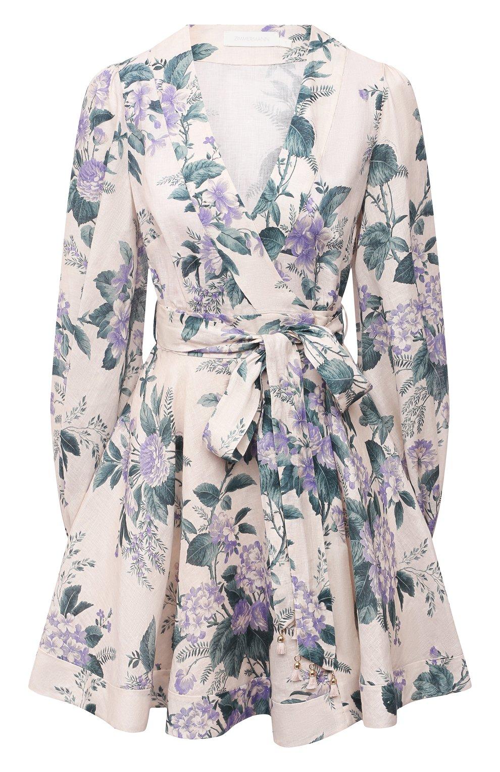 Женское льняное платье ZIMMERMANN сиреневого цвета, арт. 8334DCAS   Фото 1