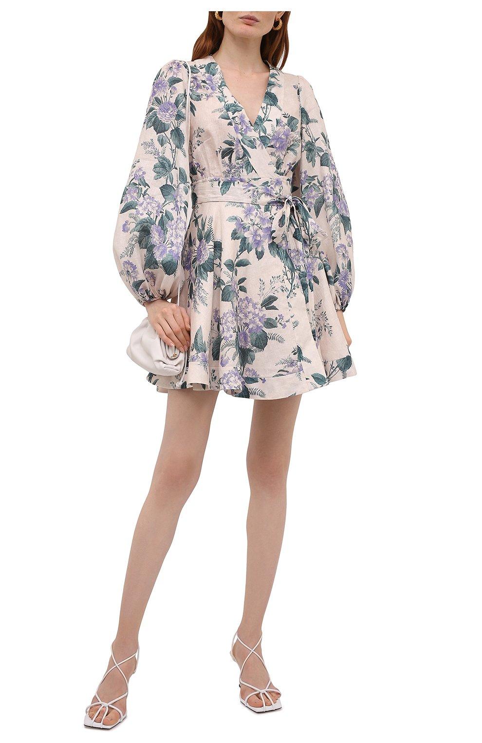 Женское льняное платье ZIMMERMANN сиреневого цвета, арт. 8334DCAS   Фото 2