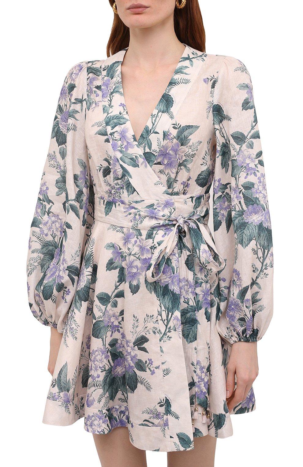 Женское льняное платье ZIMMERMANN сиреневого цвета, арт. 8334DCAS   Фото 3