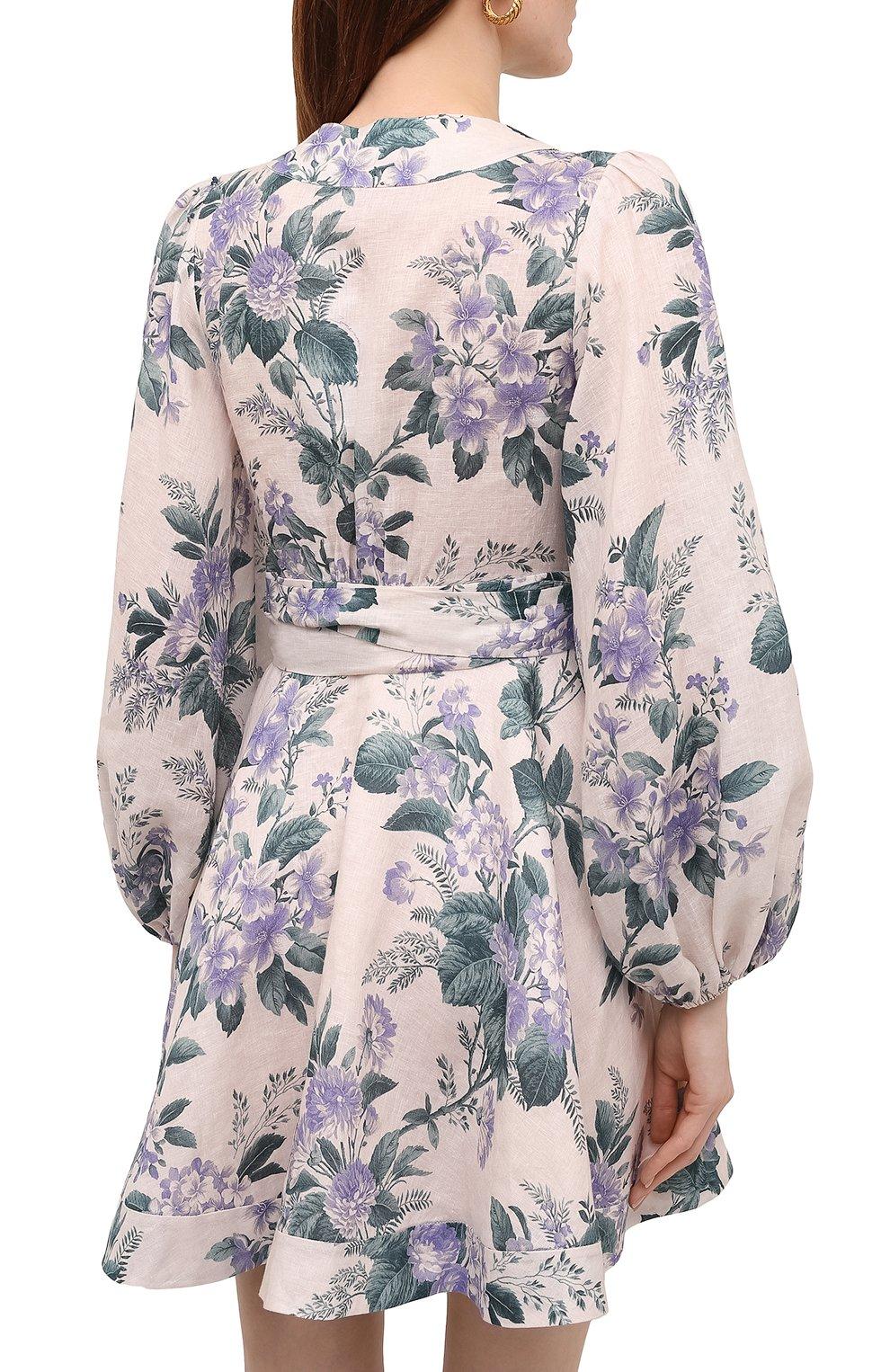 Женское льняное платье ZIMMERMANN сиреневого цвета, арт. 8334DCAS   Фото 4