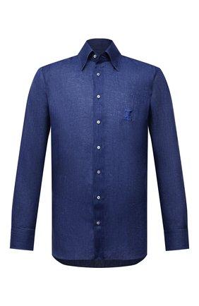 Мужская льняная рубашка ZILLI темно-синего цвета, арт. MFV-17092-1525/ZS0214 | Фото 1 (Рукава: Длинные; Материал внешний: Лен; Длина (для топов): Стандартные; Случай: Повседневный; Принт: Однотонные; Воротник: Кент; Рубашки М: Slim Fit; Манжеты: На пуговицах; Стили: Кэжуэл)