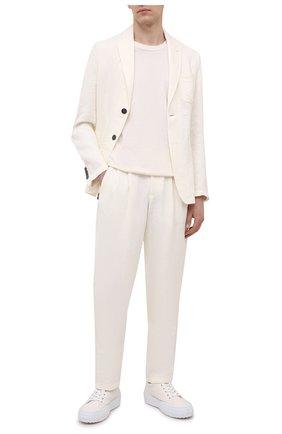 Мужские льняные брюки GIORGIO ARMANI белого цвета, арт. 1WGPP0JA/T02P4 | Фото 2