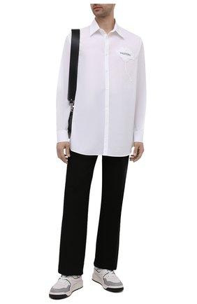 Мужская хлопковая рубашка VALENTINO белого цвета, арт. WV3ABA957H8 | Фото 2