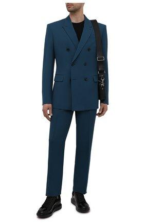 Мужские кожаные кеды ALEXANDER MCQUEEN черного цвета, арт. 662645/WIA33 | Фото 2