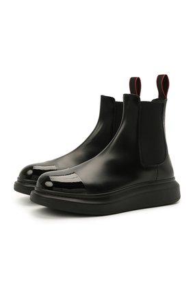 Мужские кожаные челси ALEXANDER MCQUEEN черного цвета, арт. 665014/WHX5T | Фото 1 (Материал внутренний: Натуральная кожа; Подошва: Массивная; Каблук высота: Высокий; Мужское Кросс-КТ: Сапоги-обувь, Челси-обувь)