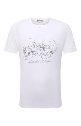 Мужская хлопковая футболка ALEXANDER MCQUEEN белого цвета, арт. 662548/QRZ62 | Фото 1 (Материал внешний: Хлопок; Длина (для топов): Стандартные; Рукава: Короткие; Стили: Панк)