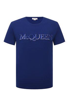 Мужская хлопковая футболка ALEXANDER MCQUEEN синего цвета, арт. 649876/QRZ56 | Фото 1 (Материал внешний: Хлопок; Рукава: Короткие; Стили: Кэжуэл; Длина (для топов): Стандартные)