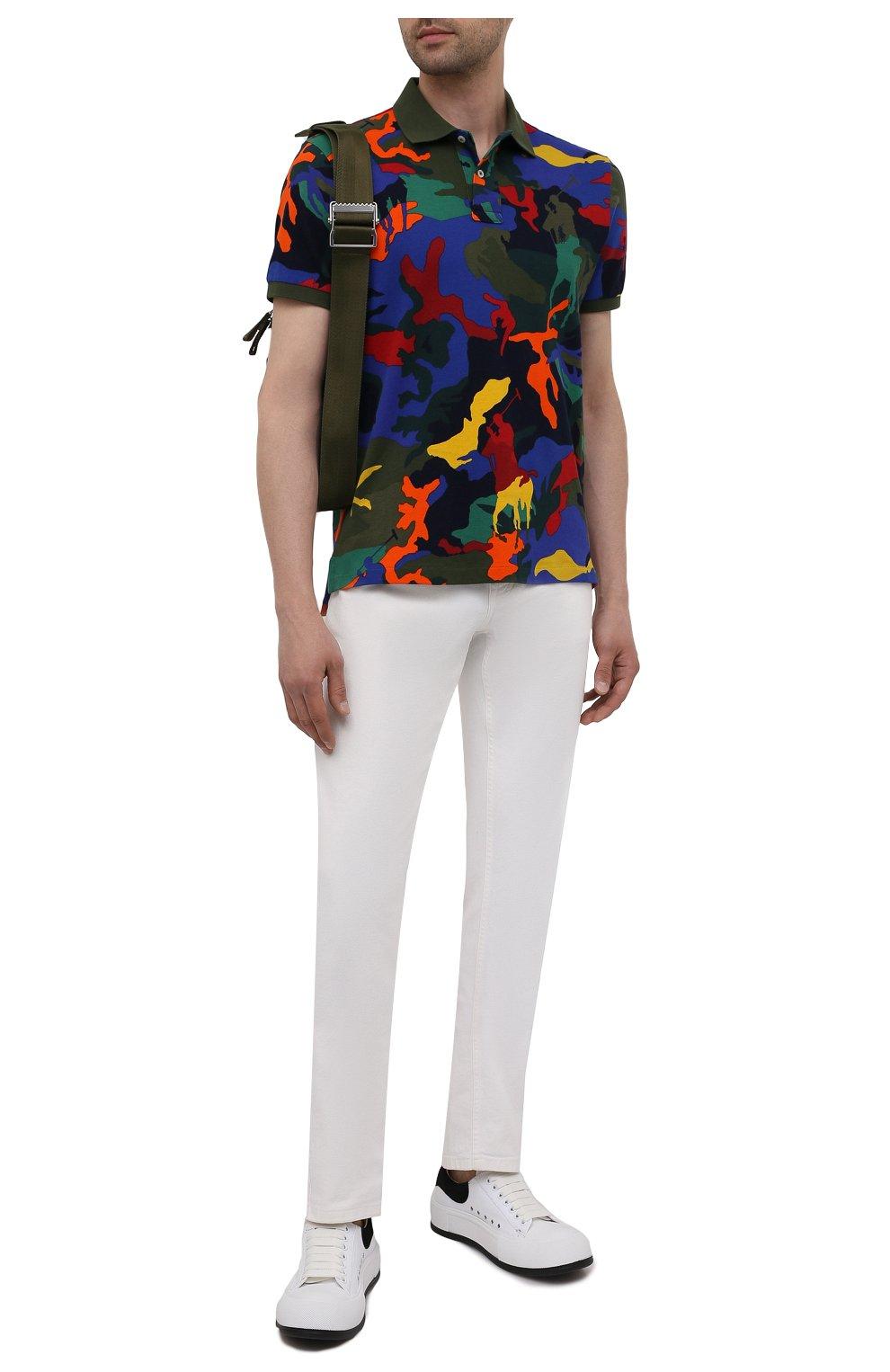 Мужское хлопковое поло POLO RALPH LAUREN разноцветного цвета, арт. 710842911 | Фото 2