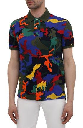 Мужское хлопковое поло POLO RALPH LAUREN разноцветного цвета, арт. 710842911 | Фото 3