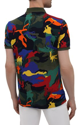 Мужское хлопковое поло POLO RALPH LAUREN разноцветного цвета, арт. 710842911 | Фото 4