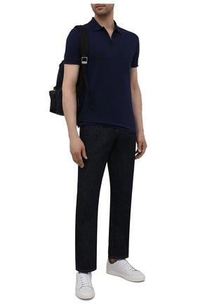Мужское хлопковое поло POLO RALPH LAUREN темно-синего цвета, арт. 710737087 | Фото 2