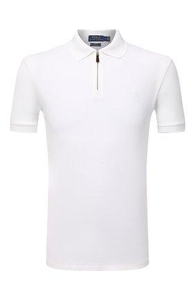 Мужское хлопковое поло POLO RALPH LAUREN белого цвета, арт. 710737087 | Фото 1