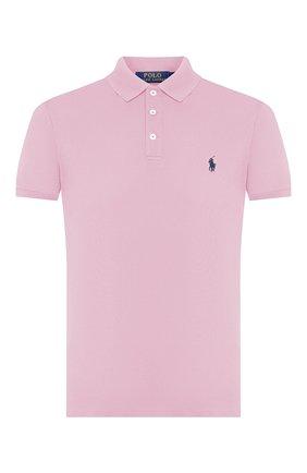 Мужское хлопковое поло POLO RALPH LAUREN розового цвета, арт. 710541705 | Фото 1