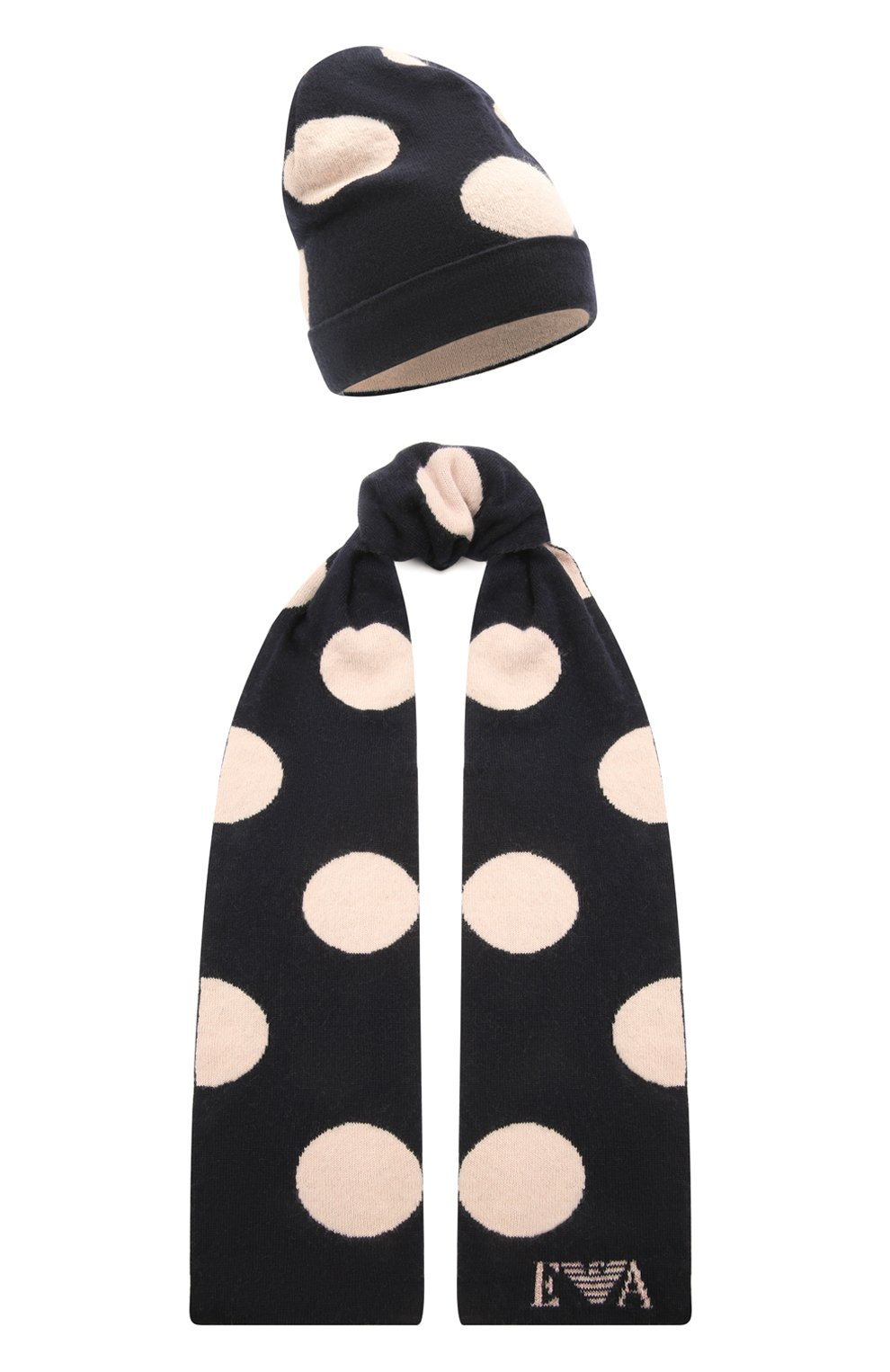 Детский комплект из шарфа и шапки EMPORIO ARMANI темно-синего цвета, арт. 397505/1A760   Фото 1 (Материал: Текстиль, Шерсть, Вискоза, Синтетический материал)