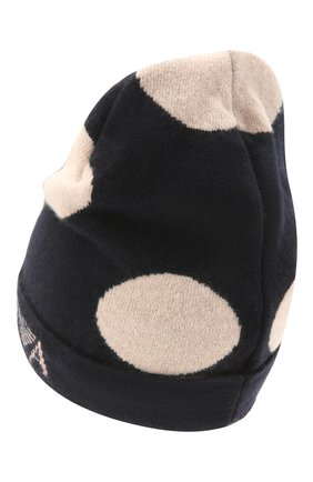 Детский комплект из шарфа и шапки EMPORIO ARMANI темно-синего цвета, арт. 397505/1A760   Фото 3 (Материал: Текстиль, Шерсть, Вискоза, Синтетический материал)