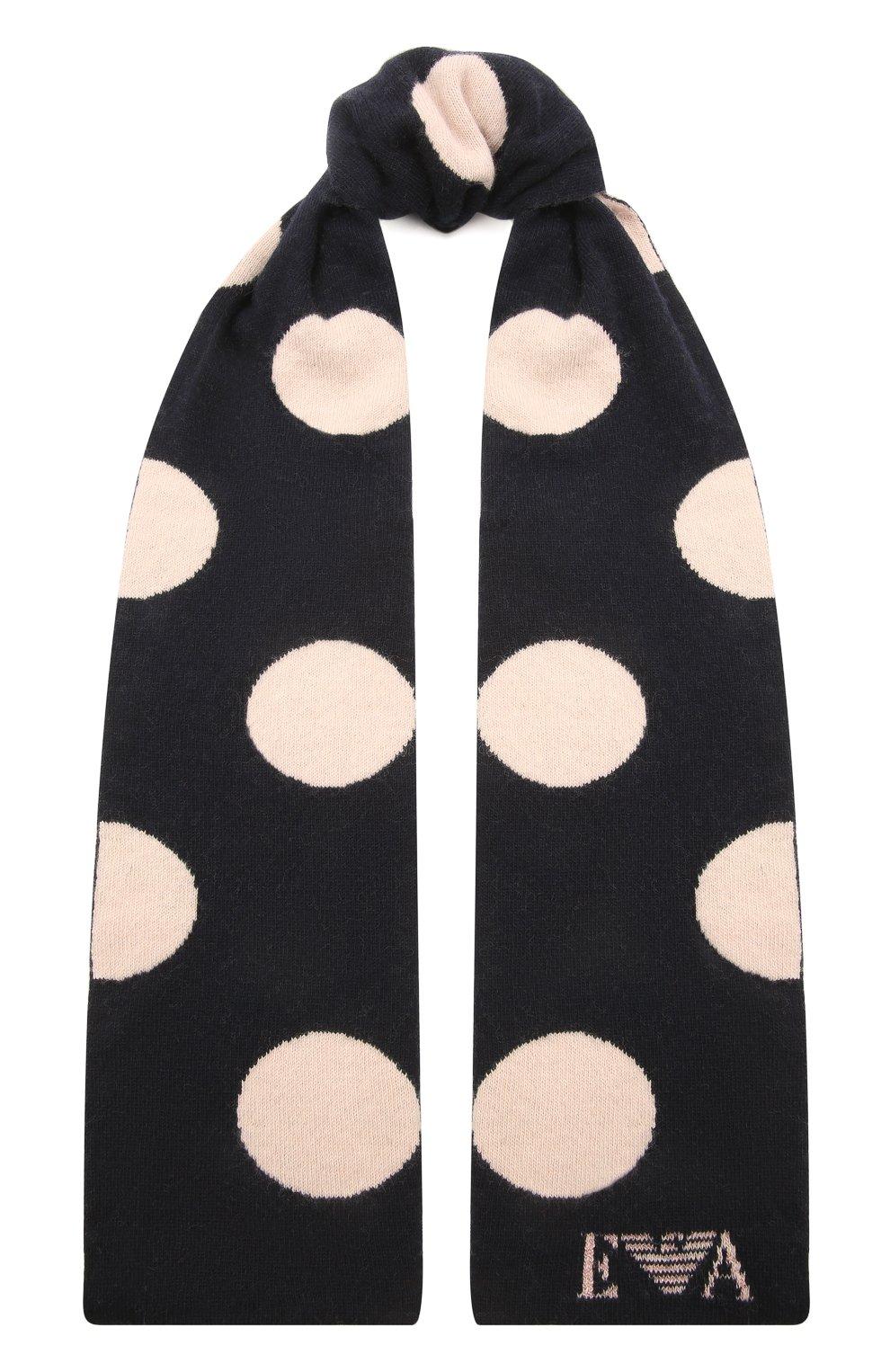 Детский комплект из шарфа и шапки EMPORIO ARMANI темно-синего цвета, арт. 397505/1A760   Фото 4 (Материал: Текстиль, Шерсть, Вискоза, Синтетический материал)