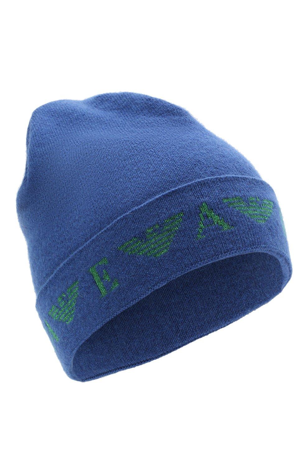 Детского шапка EMPORIO ARMANI синего цвета, арт. 394614/1A761   Фото 1 (Материал: Текстиль, Шерсть, Вискоза, Синтетический материал)