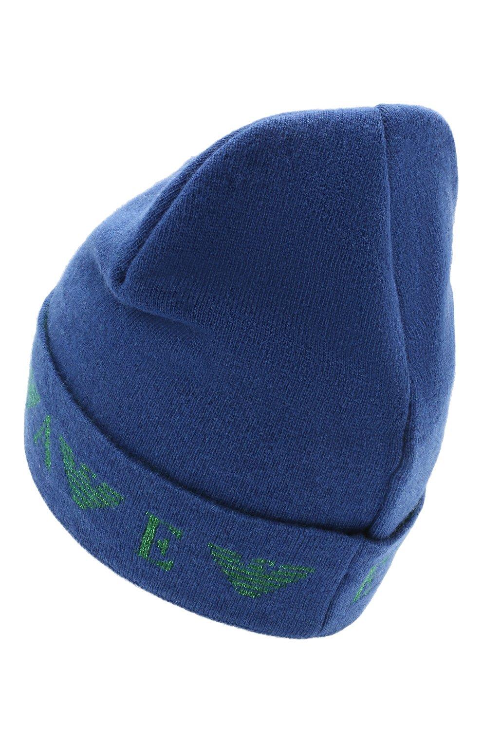 Детского шапка EMPORIO ARMANI синего цвета, арт. 394614/1A761   Фото 2 (Материал: Текстиль, Шерсть, Вискоза, Синтетический материал)