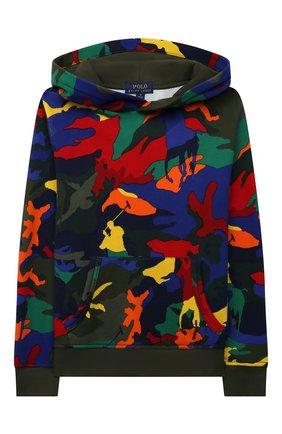 Детский хлопковое худи POLO RALPH LAUREN разноцветного цвета, арт. 323844800 | Фото 1