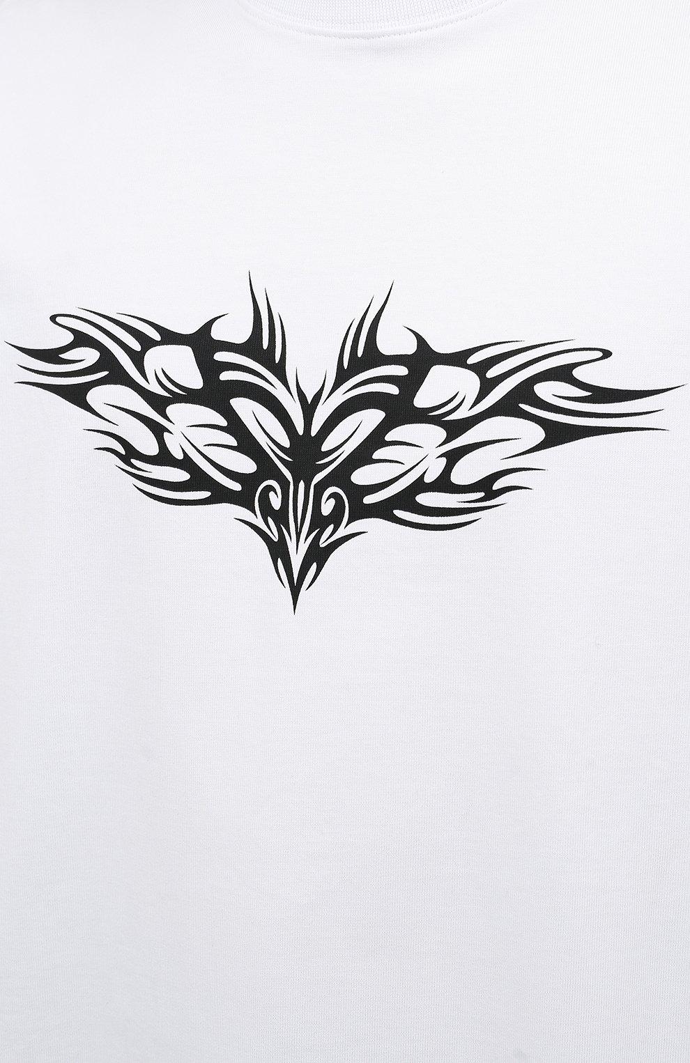 Мужская хлопковый лонгслив VETEMENTS белого цвета, арт. UA52TR590W 1604/M | Фото 5 (Рукава: Длинные; Стили: Панк; Принт: С принтом; Длина (для топов): Удлиненные; Материал внешний: Хлопок)