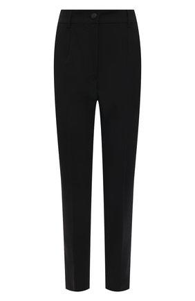 Женские шерстяные брюки DOLCE & GABBANA черного цвета, арт. FTAM2T/FUBAJ | Фото 1 (Материал внешний: Шерсть; Стили: Гламурный; Женское Кросс-КТ: Брюки-одежда; Длина (брюки, джинсы): Укороченные, Стандартные; Силуэт Ж (брюки и джинсы): Прямые)