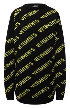 Женский шерстяной свитер VETEMENTS черного цвета, арт. UA52KN600B 2901/W | Фото 1