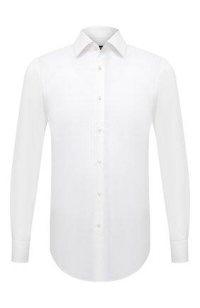 Мужская хлопковая сорочка BOSS белого цвета, арт. 50449766 | Фото 1 (Материал внешний: Хлопок; Длина (для топов): Стандартные; Случай: Формальный; Воротник: Кент; Рубашки М: Slim Fit; Рукава: Длинные; Стили: Классический)