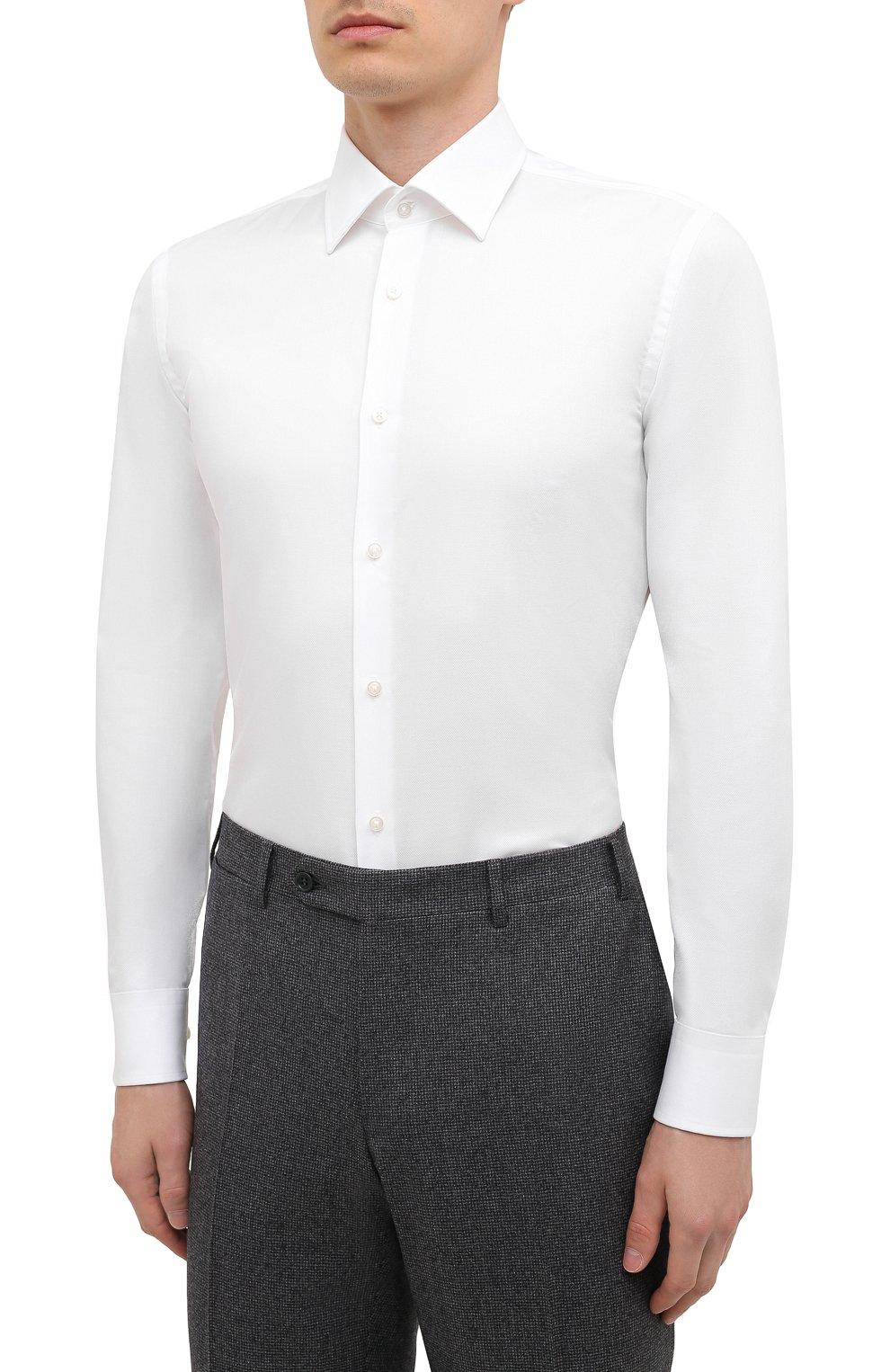 Мужская хлопковая сорочка BOSS белого цвета, арт. 50449766 | Фото 3