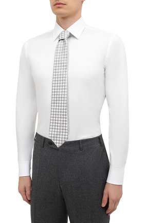 Мужская хлопковая сорочка BOSS белого цвета, арт. 50449766 | Фото 4