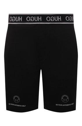 Мужские хлопковые шорты HUGO черного цвета, арт. 50454103 | Фото 1 (Материал внешний: Хлопок; Длина Шорты М: До колена; Кросс-КТ: Трикотаж; Стили: Спорт-шик)