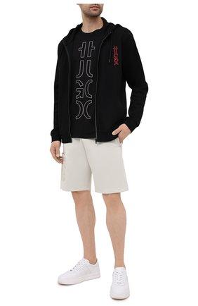Мужская хлопковая футболка HUGO черного цвета, арт. 50458197 | Фото 2 (Материал внешний: Хлопок; Длина (для топов): Стандартные; Рукава: Короткие; Стили: Кэжуэл; Принт: С принтом)