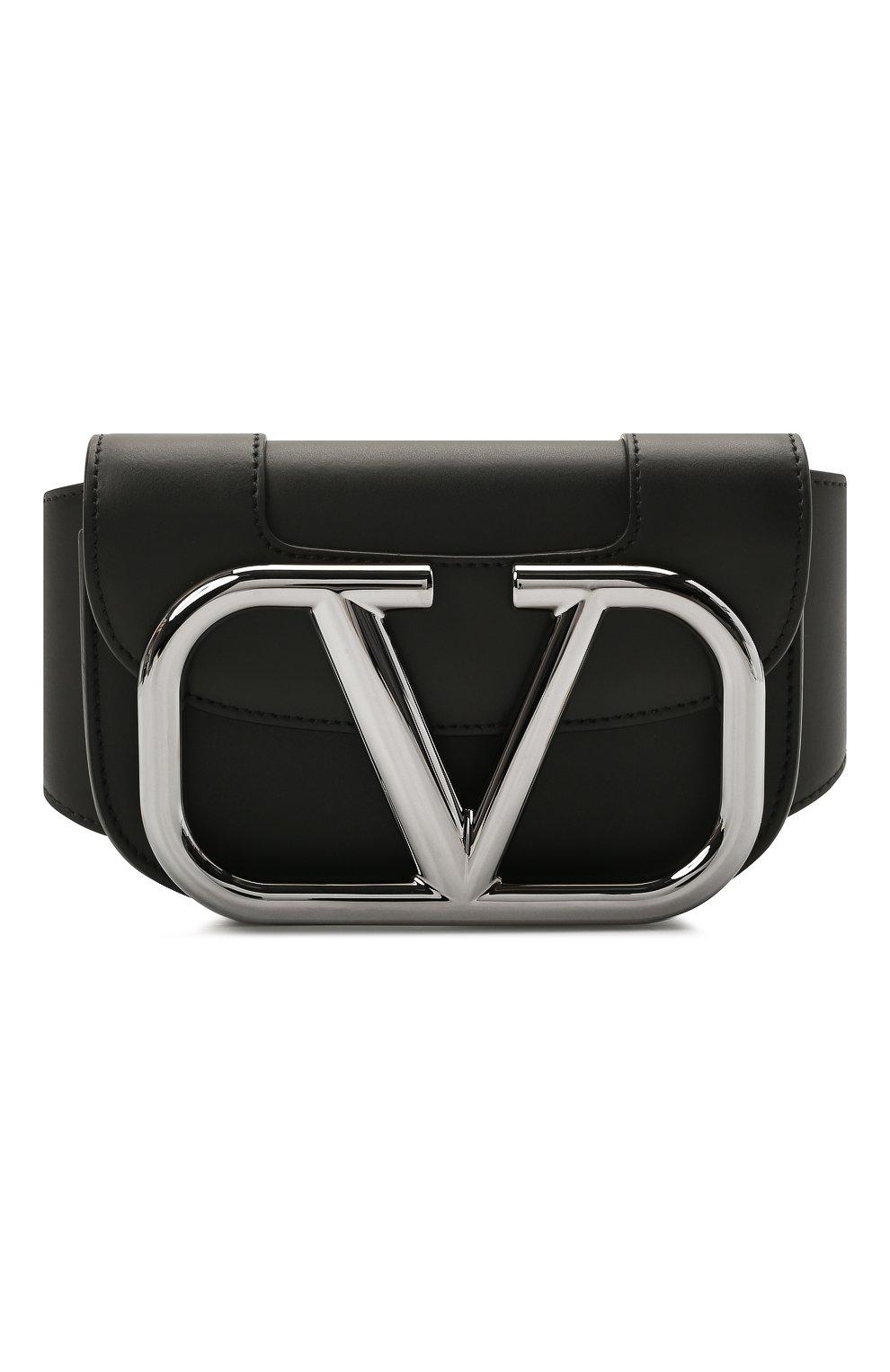 Мужская кожаная поясная сумка supervee VALENTINO черного цвета, арт. WY2B0A17/SFU   Фото 1