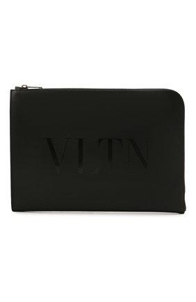 Мужская кожаная папка для документов vltn VALENTINO черного цвета, арт. WY2B0457/GUI   Фото 1