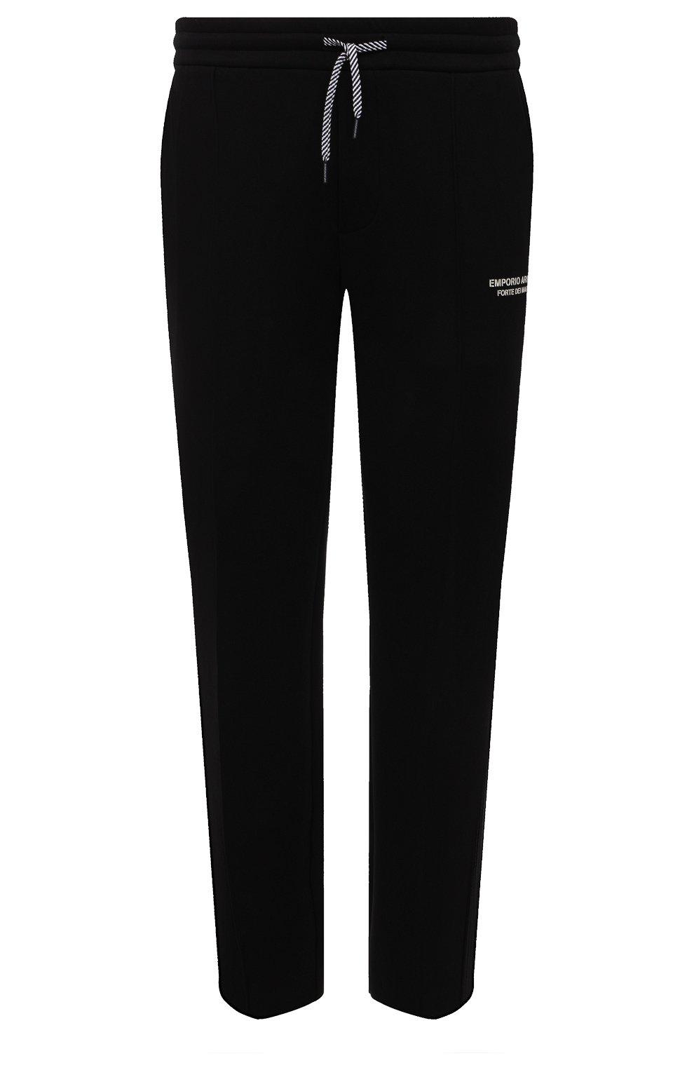 Мужские хлопковые брюки EMPORIO ARMANI черного цвета, арт. 6K1P67/1JHSZ | Фото 1 (Мужское Кросс-КТ: Брюки-трикотаж; Длина (брюки, джинсы): Стандартные; Кросс-КТ: Спорт; Материал внешний: Хлопок; Стили: Спорт-шик)