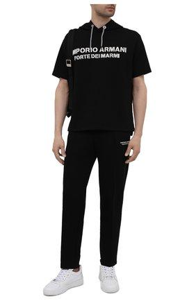 Мужские хлопковые брюки EMPORIO ARMANI черного цвета, арт. 6K1P67/1JHSZ | Фото 2 (Мужское Кросс-КТ: Брюки-трикотаж; Длина (брюки, джинсы): Стандартные; Кросс-КТ: Спорт; Материал внешний: Хлопок; Стили: Спорт-шик)