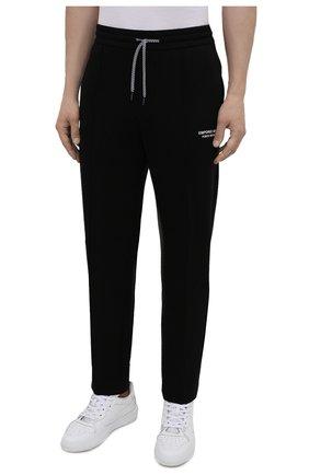 Мужские хлопковые брюки EMPORIO ARMANI черного цвета, арт. 6K1P67/1JHSZ | Фото 3 (Мужское Кросс-КТ: Брюки-трикотаж; Длина (брюки, джинсы): Стандартные; Кросс-КТ: Спорт; Материал внешний: Хлопок; Стили: Спорт-шик)