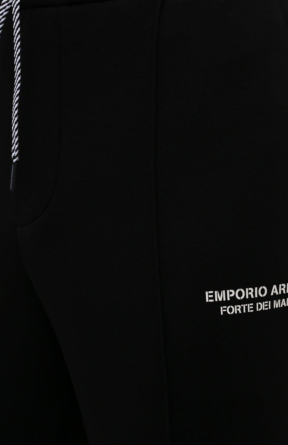 Мужские хлопковые брюки EMPORIO ARMANI черного цвета, арт. 6K1P67/1JHSZ | Фото 5 (Мужское Кросс-КТ: Брюки-трикотаж; Длина (брюки, джинсы): Стандартные; Кросс-КТ: Спорт; Материал внешний: Хлопок; Стили: Спорт-шик)
