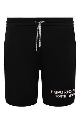 Мужские хлопковые шорты EMPORIO ARMANI черного цвета, арт. 6K1P66/1JHSZ | Фото 1 (Материал внешний: Хлопок; Длина Шорты М: До колена; Кросс-КТ: Трикотаж; Стили: Спорт-шик)
