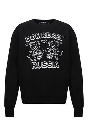 Мужской хлопковый свитшот DOMREBEL черного цвета, арт. FACE 0FF/SWEATSHIRT | Фото 1