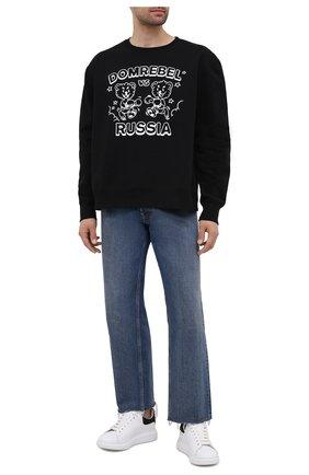 Мужской хлопковый свитшот DOMREBEL черного цвета, арт. FACE 0FF/SWEATSHIRT | Фото 2