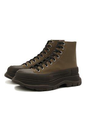 Мужские кожаные кроссовки ALEXANDER MCQUEEN хаки цвета, арт. 627206/WHYK3 | Фото 1 (Материал внутренний: Натуральная кожа; Подошва: Массивная; Стили: Гранж)