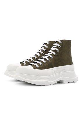 Мужские текстильные кроссовки ALEXANDER MCQUEEN хаки цвета, арт. 662678/W4QQ1 | Фото 1 (Материал внешний: Текстиль; Подошва: Массивная; Материал внутренний: Натуральная кожа; Стили: Гранж)