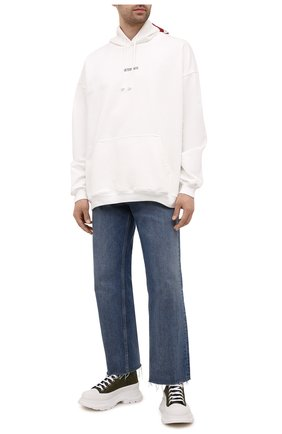 Мужские текстильные кроссовки ALEXANDER MCQUEEN хаки цвета, арт. 662678/W4QQ1 | Фото 2 (Материал внешний: Текстиль; Подошва: Массивная; Материал внутренний: Натуральная кожа; Стили: Гранж)