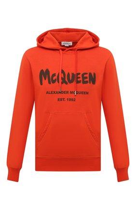 Мужской хлопковое худи ALEXANDER MCQUEEN оранжевого цвета, арт. 665401/QRZ71 | Фото 1 (Материал внешний: Хлопок; Длина (для топов): Стандартные; Рукава: Длинные; Мужское Кросс-КТ: Худи-одежда; Стили: Спорт-шик)