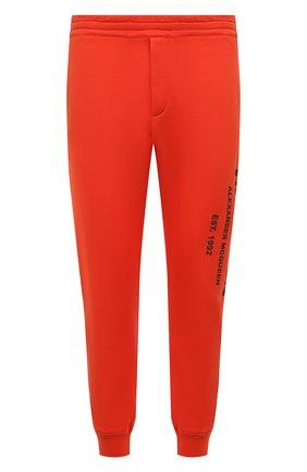 Мужские хлопковые джоггеры ALEXANDER MCQUEEN оранжевого цвета, арт. 662580/QRZ71 | Фото 1 (Длина (брюки, джинсы): Стандартные; Материал внешний: Хлопок; Силуэт М (брюки): Джоггеры; Мужское Кросс-КТ: Брюки-трикотаж; Стили: Спорт-шик; Кросс-КТ: Спорт)